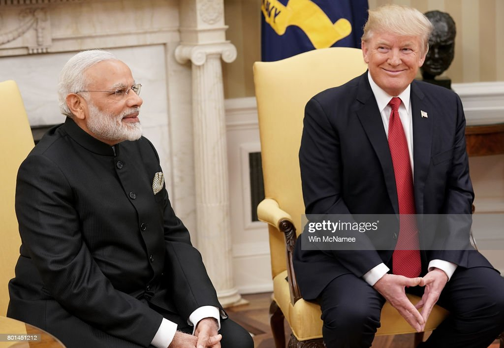 U.S. President Donald Trump (R) meets with Indian Prime Minister Narendra Modi (L) in the Oval Office of the White House June 26, 2017 in Washington, DC. Trump and Modi are scheduled to deliver joint statements later today following their meetings.