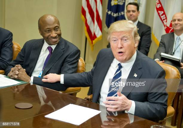 US President Donald Trump meets with Kenneth C Frazier Chairman and CEO of Merck Co and other representatives from PhRMA the Pharmaceutical Research...