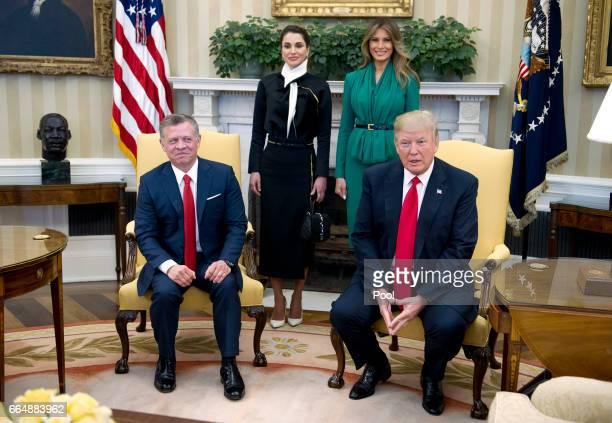US President Donald Trump meets with King Abdullah II of Jordan in the Oval Office of the White House on April 5 2017 in Washington DC Standing...
