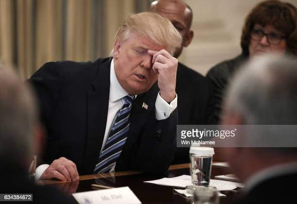 S President Donald Trump meets with members of the airline industry at the White House February 9 2017 in Washington DC Trump held a listening...