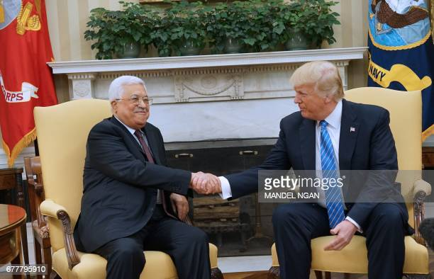 US President Donald Trump meets with Palestinian Authority President Mahmud Abbas in the Oval Office of the White House on May 3 2017 in Washington...