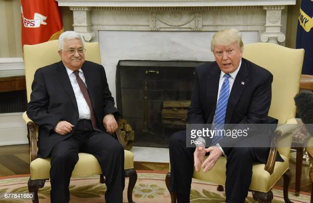 President Donald Trump meets with President Mahmoud Abbas of the Palestinian Authority in the Oval Office of the White House on May 3 2017 in...