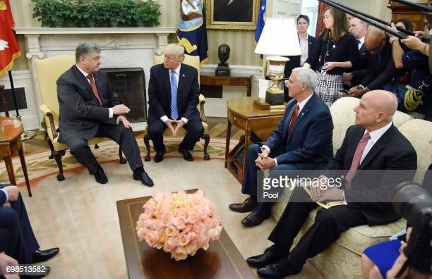 US President Donald Trump meets with President Petro Poroshenko of Ukraine as National Security Advisor HR McMaster and Vice President Mike Pence...