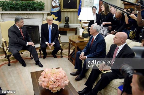 President Donald Trump meets with President Petro Poroshenko of Ukraine as National Security Advisor HR McMaster and Vice President Mike Pence look...