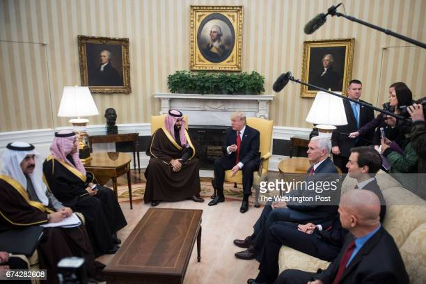 President Donald Trump meets with Saudi Defense Minister and Deputy Crown Prince Mohammed bin Salman bin Abdulaziz Al Saud in the Oval Office of the...