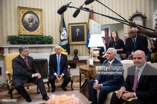 President Donald Trump meets with Ukrainian President Petro Poroshenko in the Oval Office of the White House in Washington DC on Tuesday June 20 2017...