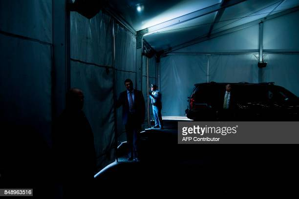President Donald Trump motorcade waits at the UN headquarters during the 72nd session of the United Nations General Assembly September 18 2017 in New...