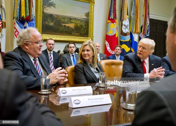 President Donald Trump participates in a congressional listening session with GOP members in the Roosevelt Room of the White House February 16 2017...