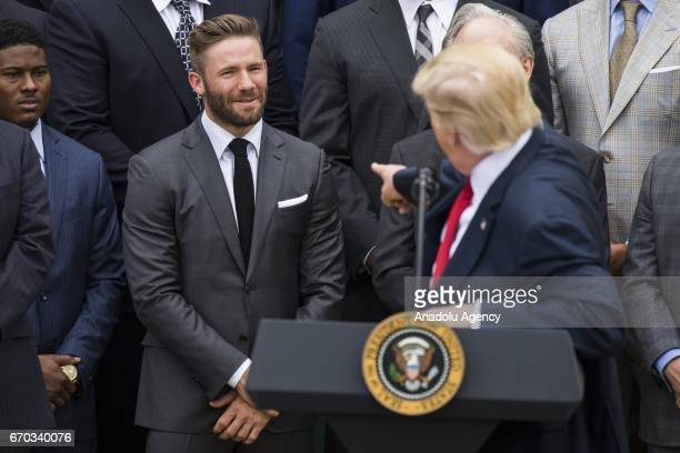 S President Donald Trump recognizes Julian Edelman with the 2017 Super Bowl Champions the New England Patriots during a ceremony at the White House...