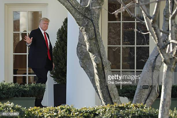 US President Donald Trump returns to the White House after visiting the Department of Homeland Security January 25 2017 in Washington DC While at the...