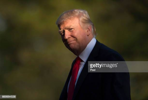 S President Donald Trump returns to the White House April 18 2017 in Washington DC The president was returning from a trip to Kenosha Wisconsin where...