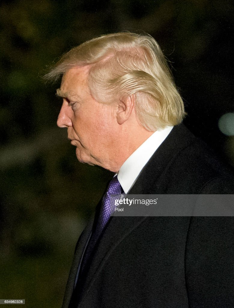 U.S. President Donald Trump returns to the White House February 12, 2017 in Washington, DC. The president spent the weekend with Japanese Prime Minister Shinzo Abe playing golf and socializing with their wives in Mar-a-Lago, Florida.