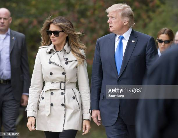 US President Donald Trump right and US First Lady Melania Trump tour the US Secret Service James J Rowley Training Center in Beltsville Maryland US...