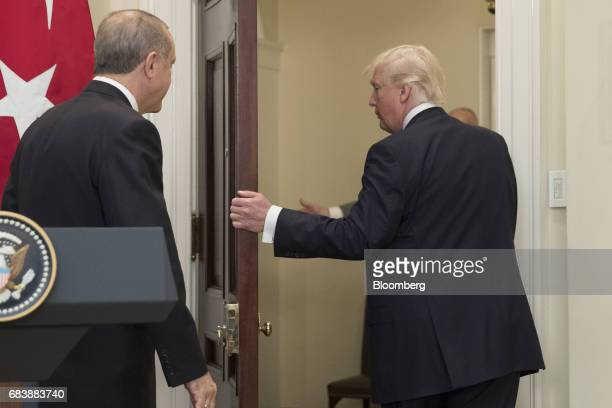US President Donald Trump right exits with Recep Tayyip Erdogan Turkey's president after a news conference at the Roosevelt Room of the White House...