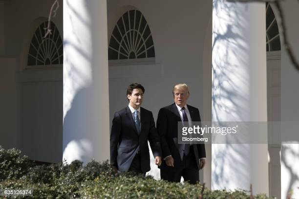 US President Donald Trump right speaks with Justin Trudeau Canada's prime minister while leaving the Oval Office of the White House in Washington DC...