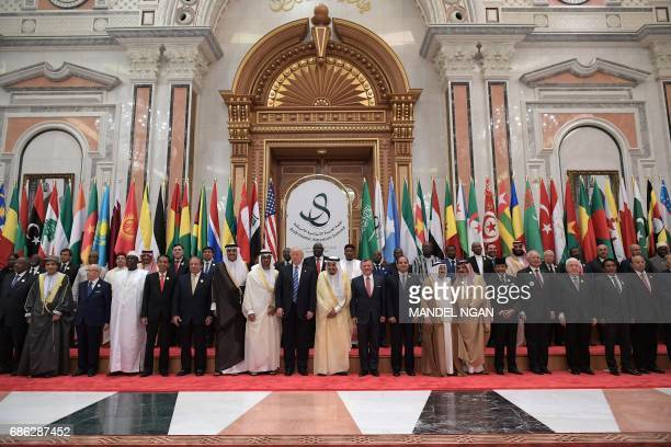 US President Donald Trump Saudi Arabia's King Salman bin Abdulaziz alSaud Jordan's King Abdullah II Egyptian President Abdel Fattah alSisi and other...