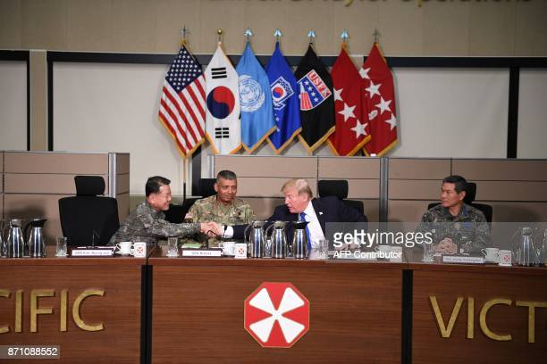 US President Donald Trump shakes hands with Deputy Commander of the South KoreaUS Combined Force Command General Kim Byeongjoo as he meets generals...