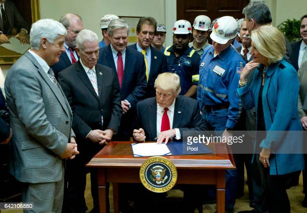 S President Donald Trump signs HJ Res 38 disapproving the rule submitted by the US Department of the Interior known as the Stream Protection Rule in...
