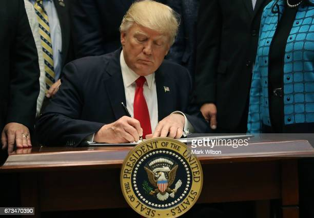 S President Donald Trump signs the Education Federalism Executive Order that will pull the federal government out of K12 education in the Roosevelt...