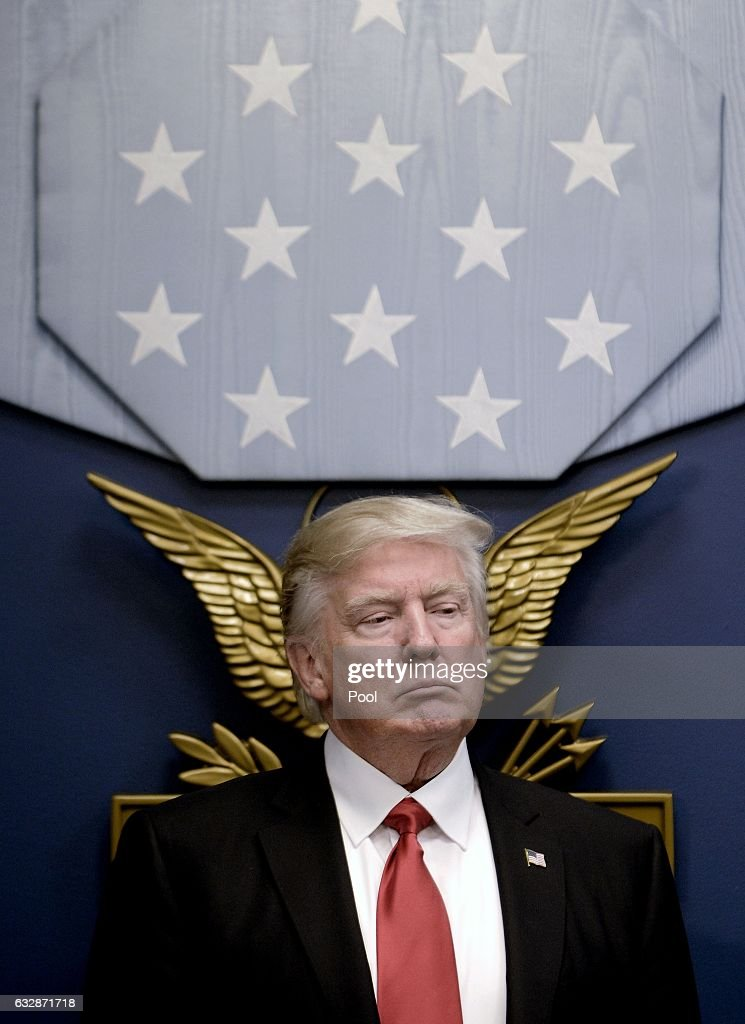 U.S. President Donald Trump sits during a meeting to sign executive orders in the Hall of Heroes at the Department of Defense on January 27, 2017 in Arlington, Virginia. Trump signed two orders calling for the 'great rebuilding' of the nation's military and the 'extreme vetting' of visa seekers from terror-plagued countries.