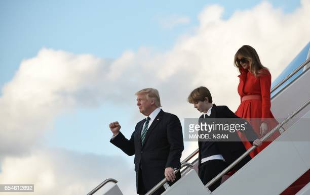 President Donald Trump son Barron and wife Melania step off Air Force One upon arrival at Palm Beach International Airport in West Palm Beach Florida...