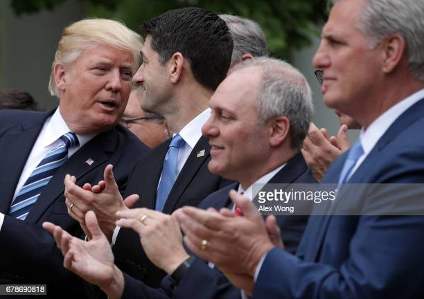 US President Donald Trump Speaker of the House Rep Paul Ryan House Majority Whip Rep Steve Scalise and House Majority Leader Rep Kevin McCarthy...
