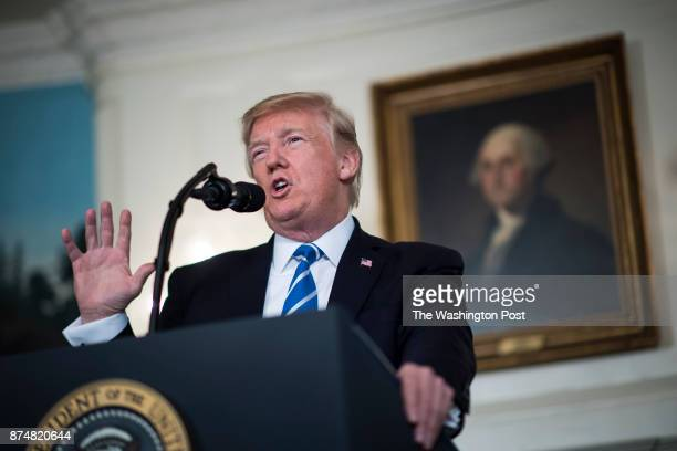 President Donald Trump speaks about his trip to Asia in the Diplomatic Reception Room of the White House in Washington DC on Wednesday Nov 15 2017