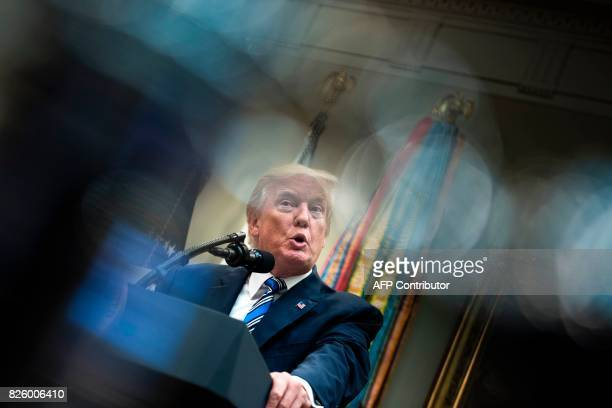 US President Donald Trump speaks about new technology used by the Department of Veterans Affairs during an event in the Roosevelt Room of the White...