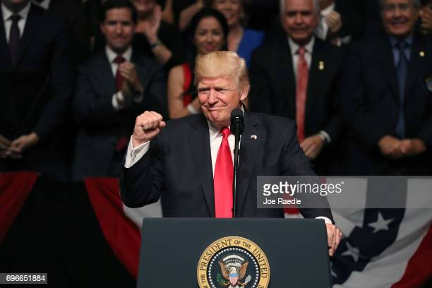 S President Donald Trump speaks about policy changes he is making toward Cuba at the Manuel Artime Theater in the Little Havana neighborhood on June...