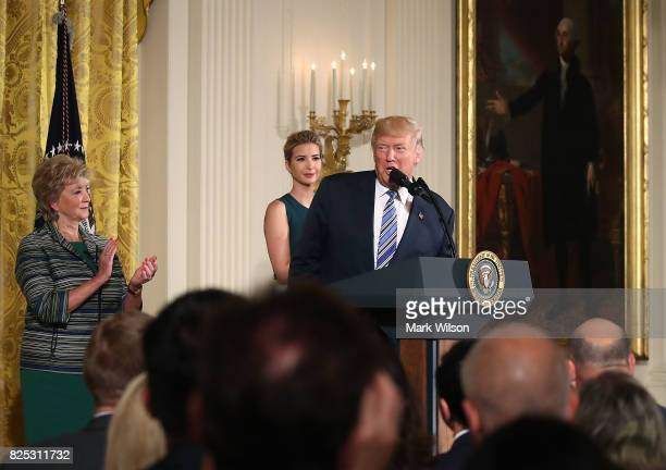 President Donald Trump speaks about small businesses while flanked by daughter and advisor to the President Ivanka Trump and US Small Business...