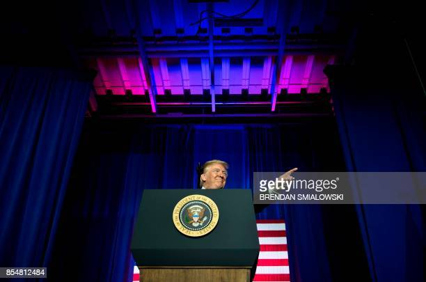 US President Donald Trump speaks about tax reform at the Indiana Farm Bureau building on the Indiana State Fairgrounds September 27 2017 in...