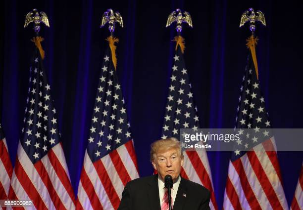 S President Donald Trump speaks after touring the Mississippi Civil Rights Museum on December 9 2017 in Jackson Mississippi The museum had a grand...