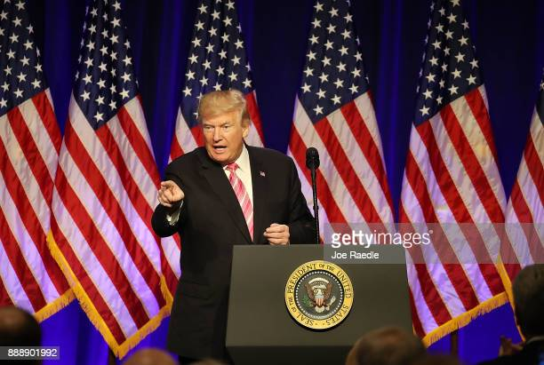 President Donald Trump speaks after touring the Mississippi Civil Rights Museum on December 9 2017 in Jackson Mississippi The museum had a grand...