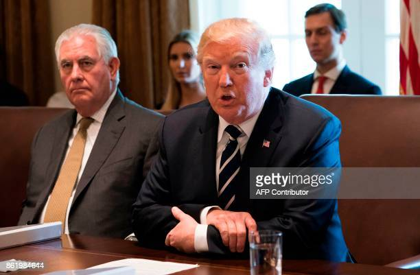 US President Donald Trump speaks alongside Secretary of State Rex Tillerson during a Cabinet Meeting in the Cabinet Room of the White House in...