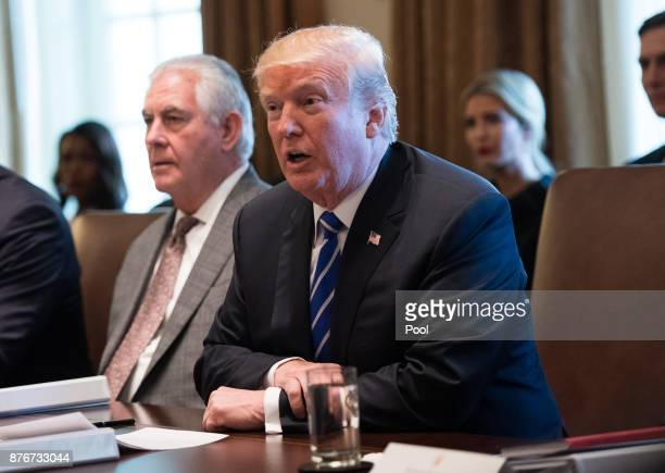 President Donald Trump speaks alongside Secretary of State Rex Tillerson during a cabinet meeting at the White House on November 20 2017 in...