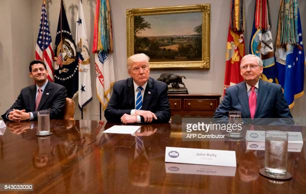 US President Donald Trump speaks alongside Speaker of the House Paul Ryan and Senate Majority Leader Mitch McConnell as they hold a meeting about tax...