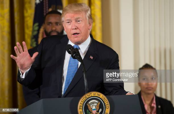 US President Donald Trump speaks as he presents the Medal of Valor to the first responders of the June 14 shooting against members of the Republican...