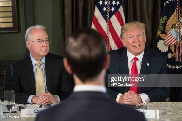 US President Donald Trump speaks at a meeting with administration officials including Health and Human Services Secretary Tom Price on the opioid...