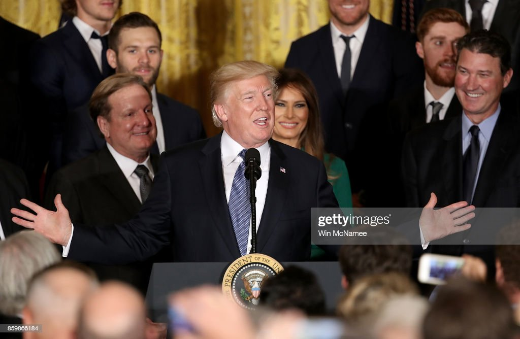 U.S. President Donald Trump speaks at an event honoring the National Hockey League champion Pittsburgh Penguins in the East Room of the White House October 10, 2017 in Washington, DC. The Penguins defeated the Nashville Predators in the 2017 NHL Finals, the fifth time the franchise has won the Stanley Cup.