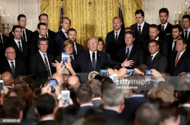 S President Donald Trump speaks at an event honoring the National Hockey League champion Pittsburgh Penguins in the East Room of the White House...