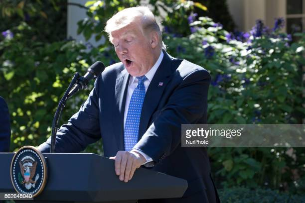 US President Donald Trump speaks at his joint press conference with Prime Minister Alexis Tsipras of Greece in the Rose Garden of the White House on...