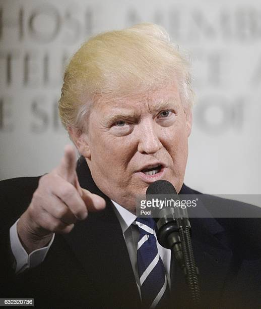 President Donald Trump speaks at the CIA headquarters on January 21 2017 in Langley Virginia Trump spoke with about 300 people in his first official...