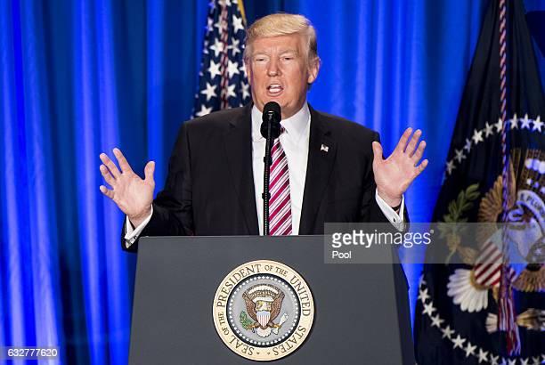 S President Donald Trump speaks at the Congress of Tomorrow Republican Member Retreat January 26 2017 in Philadelphia Pennsylvania Congressional...