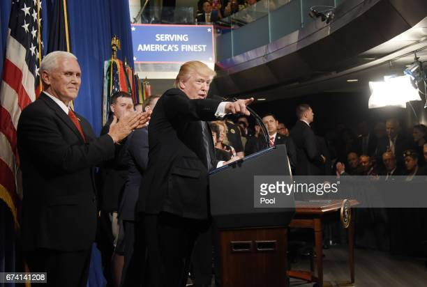 US President Donald Trump speaks at the Department of Veterans Affairs before signing an Executive Order on Improving Accountability and...