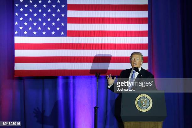 S President Donald Trump speaks at the Indiana State Fairgrounds Event Center September 27 2017 in Indianapolis Indiana Trump spoke about his...