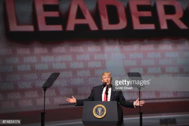 President Donald Trump speaks at the NRAILA's Leadership Forum at the 146th NRA Annual Meetings Exhibits on April 28 2017 in Atlanta Georgia The...