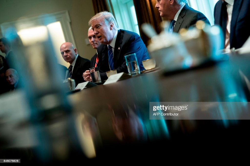 US President Donald Trump speaks before a meeting with Prime Minister of Malaysia Najib Razak and others in the Cabinet Room of the White House September 12, 2017 in Washington, DC. / AFP PHOTO / Brendan Smialowski