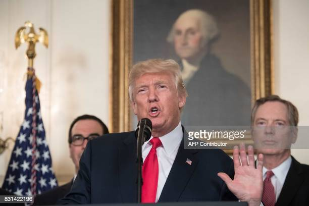 US President Donald Trump speaks before signing a memorandum on addressing Chinas laws policies practices and actions related to intellectual...