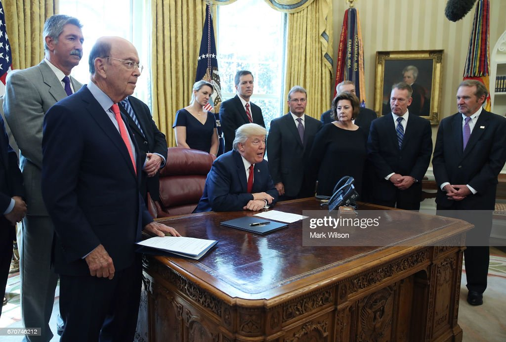 U.S. President Donald Trump speaks before signing an Executive Memorandum on the investigation of steel imports, in the Oval Office at the White House, on April 20, 2017 in Washington, DC.