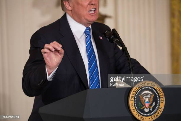 President Donald Trump speaks before signing the Department of Veterans Affairs Accountability and Whistleblower Protection Act of 2017 in the East...